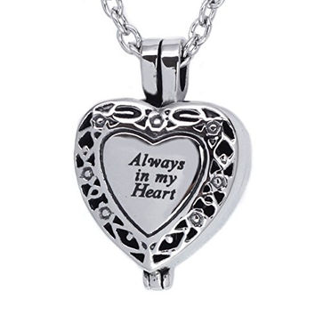 Heart Locket with Capsule Cremation Urn Jewelry Necklace Pendant Ashes Stainless Steel