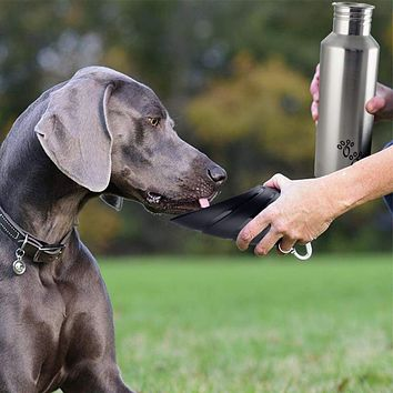 Plastic Fin Cap Pet Travel Water Bottle in Stainless Steel, Large, Silver and Black