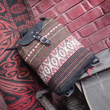 Ladies leather backpack, handwoven wool backpack, black leather backpack, school backpack, holiday backpack, kilim backpack