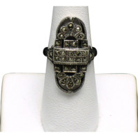 STERLING SILVER 925 Marcasite Art Deco Ring Hallmarked
