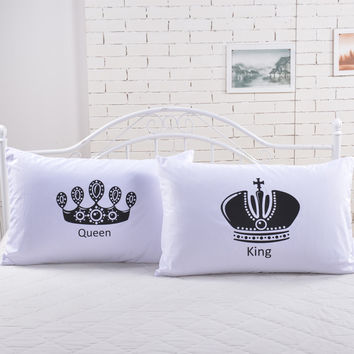 2pcs Royal Crown bedding Pillow Covers Queen King
