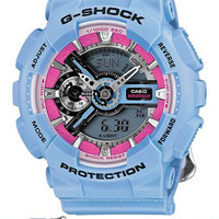 Casio Womens G-Shock S Series - Blue Case and Floral Pattern Strap - Pink Accent