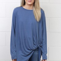 Long Sleeve Get Twisted Modal Top {Denim}