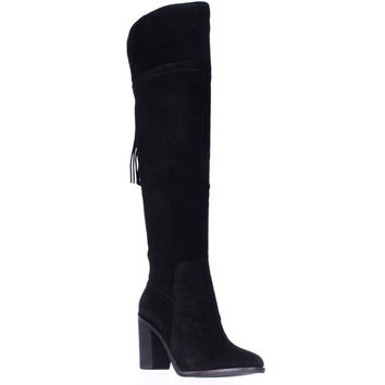 Franco Sarto Eckhart Tassel Back Over The Knee Boots, Black, 9.5 US / 39.5 EU