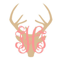 Monogrammed Deer Decal - Monogrammed Car Decal - Deer Monogram Decal - Laptop Decal- Phone Decal