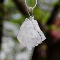 Raw White Quartz Pendant ~ Sterling Silver Chain ~ Iridescent White Stone Necklace ~ One of a Kind ~ OOAK  ~ Graduation Gift ~ Birthday
