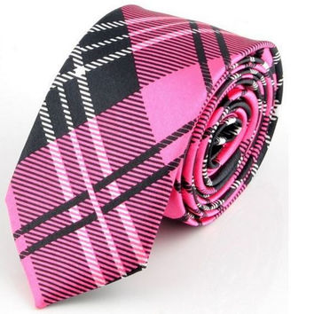 White and Gray Striped Tie Pink Tie