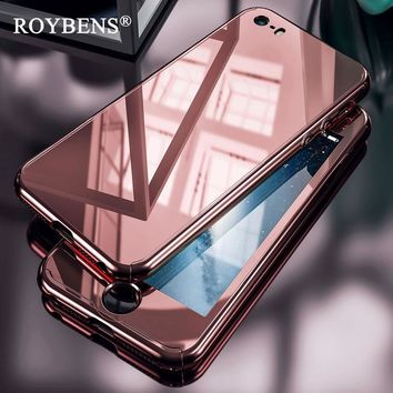 Roybens Luxury Mirror 360 Full Protection Case For iPhone 7 Plus Hard PC Plating Cover For iPhone 6 6S 5 5S SE Clear Glass Film