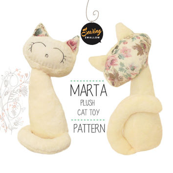 PDF pattern CAT kitten stuffed animal Sewing pattern, Plush toy gift, Instructions