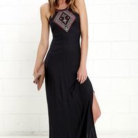 Element Eden Helix Washed Black Embroidered Maxi Dress