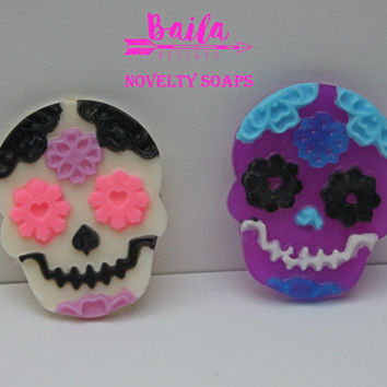 sugar skull soap, monster high favors, soap favors, handmade soap, novelty soap, unique soap, creepy soap, skull and bones, pink sugar skull