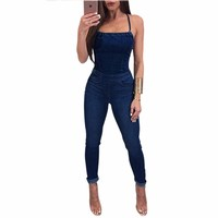 Sexy Sleeveless Backless Denim Jumpsuit Women Skinny Denim Pants Fashion Pockets Washed Jeans Casual Nightclub Bandage Overalls