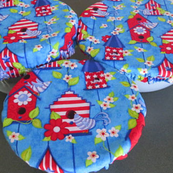 Reusable Bowl Covers, Elastic Bowl Lids, Eco Friendly Lids, Birdhouse Bowl Covers