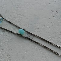 Minimalist Necklace with Aquamarine+Glass+Patinated Copper! ~Pure~ Delicate Minimalist Crystal Aqua Mystical Necklace in Aqua Blue+Black