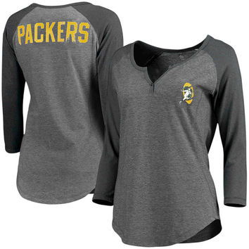 Women's Green Bay Packers Pro Line Gray Philips Henley 3/4-Sleeve T-Shirt