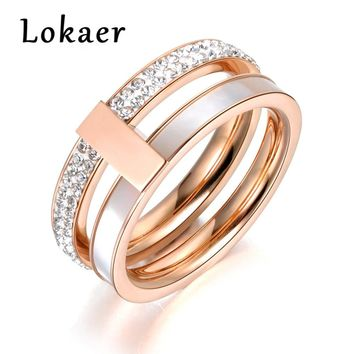 Lokaer Rose Gold Color 2 Layers Rhinestone & Shell Wedding Rings Jewelry 316L Stainless Steel Engagement Ring Drop shipping