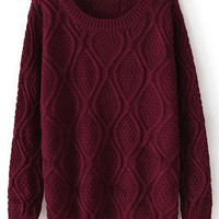 ROMWE | Diamond Pattern Burgundy Jumper, The Latest Street Fashion