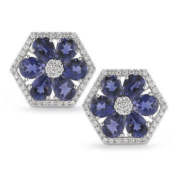 Jennifer Yamina Diamond and Iolite Hexagon Studs