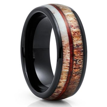 Deer Antler Tungsten Ring - Black Tungsten Ring - Koa Wood Tungsten