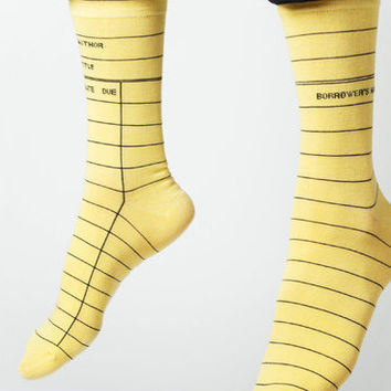 Yellow Library Card Socks