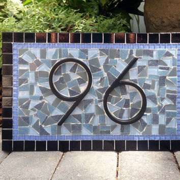Blue and Black Mosaic Address Sign
