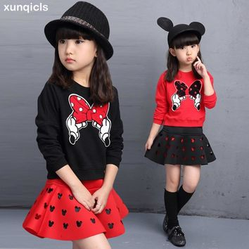 xunqicls 2018 2PC  Girls Princess Party Clothes Cartoon Long T-shirt Tops and Skirt Dress Children Clothes Set