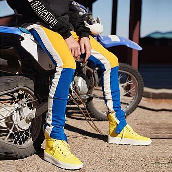 Spring Hip Hop Casual Track Pants Streetwear Trousers Color Block Patchwork Pants Joggers Men