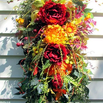 front door swag, Fall wreath, rustic fall swag, wreath swag, rustic country decor, Autumn wreath, fall swag, fall door, beautiful wreaths,