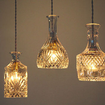 Glass Ceiling Lamp Set - glass bottle - ceiling lamp - hanging lamp - pendant lamp - edison bulb - edison lamp - DIY lightings