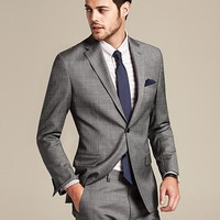 Tailored Fit Grey Micro Dot Wool Suit Jacket