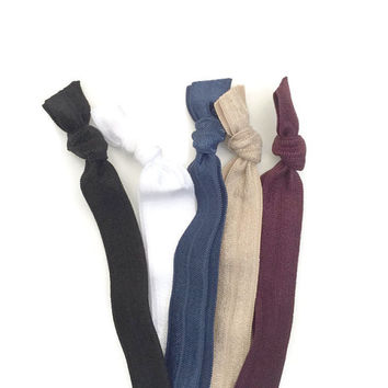 Ribbon HAIRBANDS - FOE HEADBANDS - Elastic Headbands in Black, White, Beige, Navy, Burgundy - Women's Athletic Headbands for the Gym