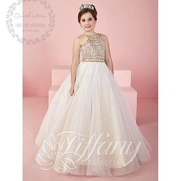 Robe de communion 2017 Beaded Crystal Evening Gowns for Kids Flower Girl Dresses Pageant Dress Little Girl First Communion Dress