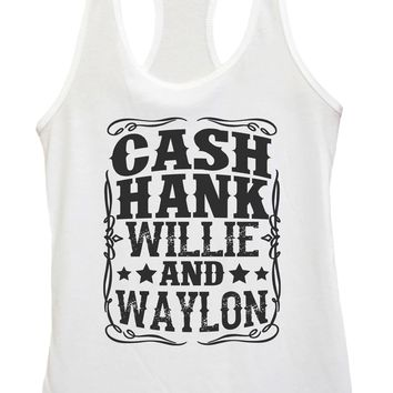 Womens Cash Hank Willie And Waylon Grapahic Design Fitted Tank Top