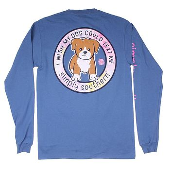 Long Sleeve Preppy Text My Dog Tee in Moonrise by Simply Southern