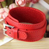 Punk Rock Style Red leather with metal buckle cuff by braceletcool