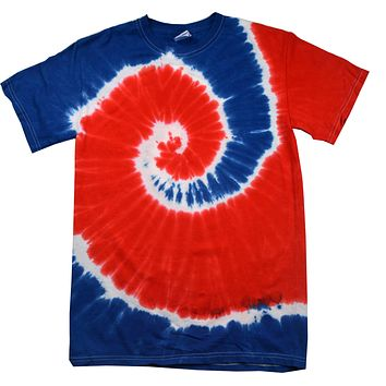 Tie Dye Shirt Multi Color Spiral Red White Blue USA T-Shirt