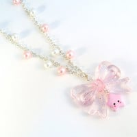 Lolita Pink Bow Star Pearl Necklace, Kawaii, Fairy Kei, Princess :)