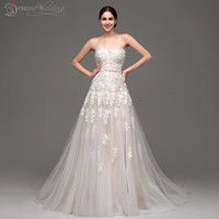 In Stock 100% Real Pic New Sweetheart Elegant Wedding Dress A Line Vintage Lace Bridal Gowns Vestido De Noiva Fast Ship