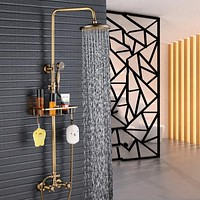 """Dual Handle  Antique Brass Bathroom 8"""" Rainfall Shower Faucet with Storage Holder"""