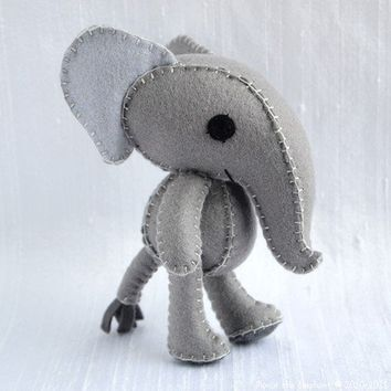 Munin the Elephant Wool Felt Plush Art Doll by nonesuchgarden