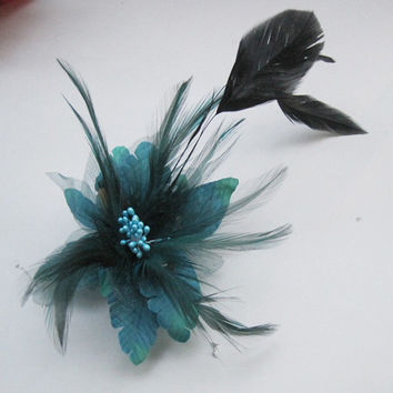 hair flower clip feather flower brooch corsage shawl pin dance hat flower