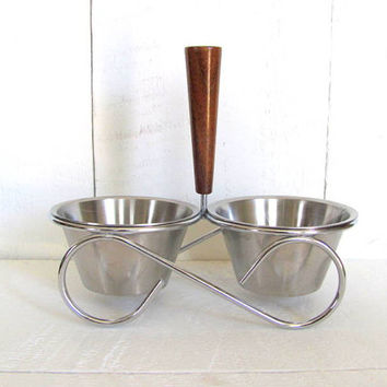 Vintage Wood and Stainless Condiment Serving Caddy Bowl Set, Snack Caddy, Nut and Candy Tray