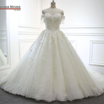 Full Beading Flowers Wedding Dress Long Tail 2017 Actual Pictures