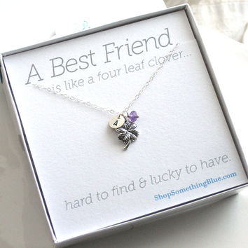 Four Leaf Clover Necklace with Stamped Initial Tag & Birthstone, Best Friends, Personalized Jewelry, Lucky Charm Necklace, Sentiment Card