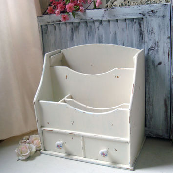 Cream Desk Organizer, Shabby Chic Distressed Mail Holder, Large Home or Office Organizer, Craft Storage Box, Chippy Wooden Storage Box