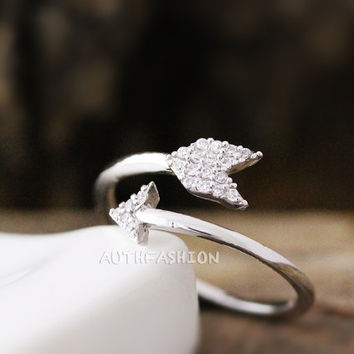 Crystal Arrow Ring Simple Adjustable Regular Wrap Ring gift idea Free size Silver plated byr26
