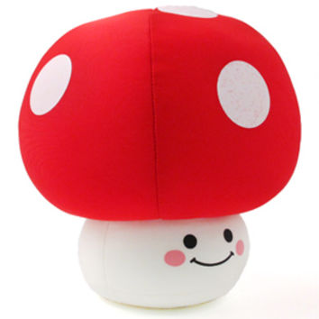 Artbox Japanese Gift Shop presents Plush and Soft Toys with free UK delivery - Artbox Kawaii Gift Shops presents Sugar Hotel Mushroom Cushion M: Red with free