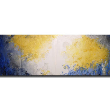 Braille  Large Abstract Painting 20 x 64 inches Hope wall art - jmjartstudio