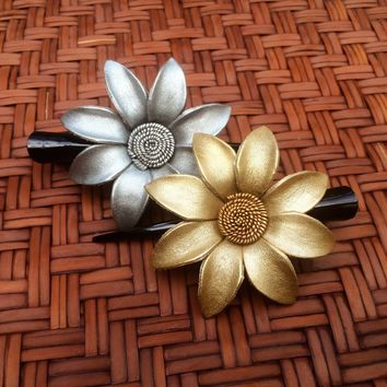 Leather Flower Hair Clip - Silver and Gold Daisy