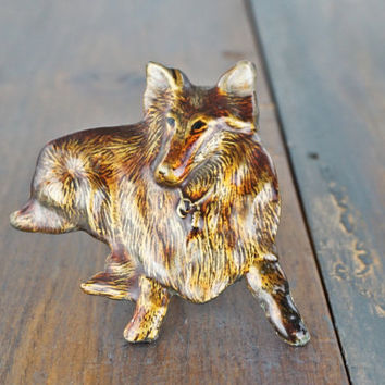 Vintage Collie Dog Belt Buckle, Ornate Buckle